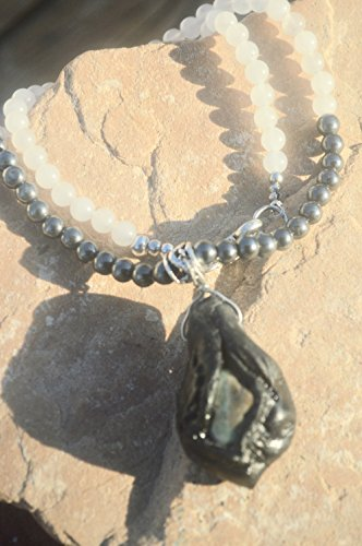 Jade Hematite Genuine Emerald Gemstone Clay Pendant Necklace Gemstone Boho Hippie Gypsy Boho