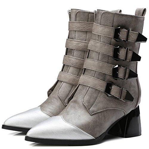 COOLCEPT Damen Trend Einfache Blockabsatz Schuhe Schnalle und Seitlichen Reißverschluss Westlichen Chelsea Stiefel Grau