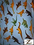 "DINOSAUR PRINT POLAR FLEECE FABRIC - Sky Blue/Dino Mix - 60"" SOLD BY THE YARD (333)"
