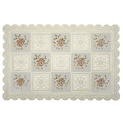 Seneca Vinyl Lace Placemats Cream (2 Pack) Rectangular 12 X 18 Inches - Washable Elegant Place Mats for Dining Table or Restaurant - Waterproof Decorative Table Protection | Easy to -