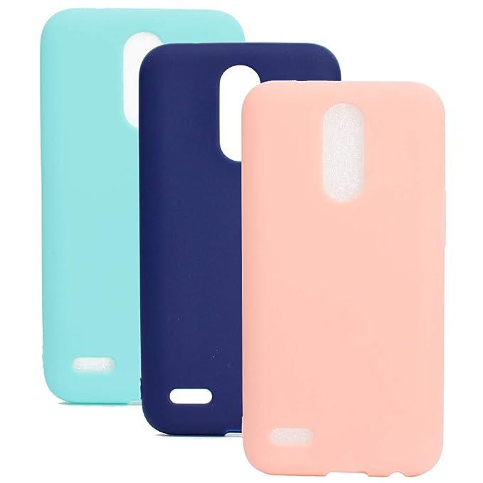 3 Colores Funda para LG K8 2017, Yunbaozi Carcasa Caucho Funda de Silicona Caramelo Ultra Suave Flexible TPU Case Cover for LG K8 2017, Verde Azul ...