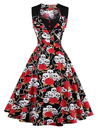 VERNASSA 1950s Vestidos para Mujer, 50s Vestido Retro con Estilo del Oscilación de la Tarde de la Vendimia del Baile de Fin de Curso del Club del Coctel del Algodón del Estilo de Hepburn 1513-skull F Fantasma