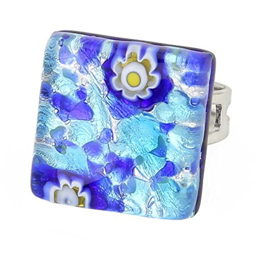 Murano Venetian Ring (GlassOfVenice Murano Glass Venetian Reflections Square Adjustable Ring - Aqua Blue)