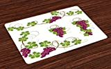 Lunarable Vine Place Mats Set of 4, Grapevines Leaves Fruit Swirls Pattern Agriculture Harvest Yield Good Food Nature, Washable Fabric Placemats for Dining Room Kitchen Table Decor, Magenta Green