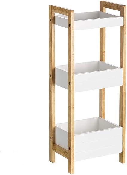 Estantería de 3 baldas nórdica Blanca de bambú para Cuarto de baño Basic - LOLAhome
