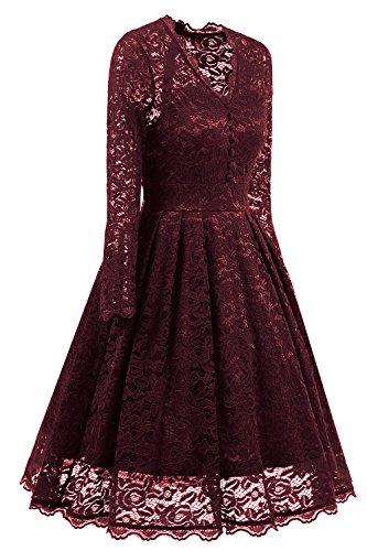 Robe Robe Rouge de V Femme pour Vin Longue en Vintage Col Dentelle Rtro avec NALATI Manche Mariage Cocktail en q6wx5U7Uz