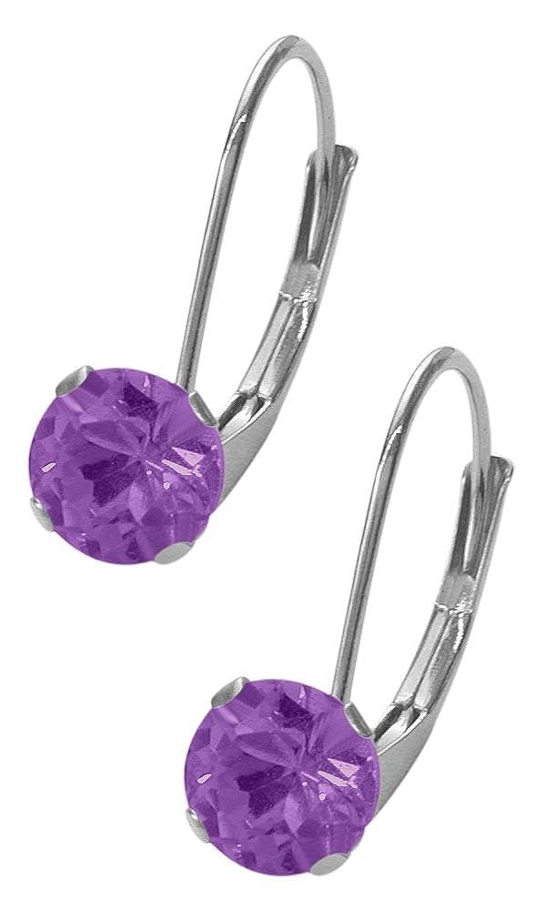 February Sterling Silver 0.90tcw. 5mm Amethyst Leverback Gem Earrings Elite Jewels E3130SS