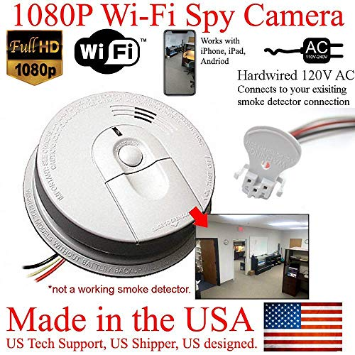 ZEUS CCTV 1080P HD Smoke Detector WiFi Spy Camera Wireless IP Wi-Fi Mobile Covert Hidden Nanny Cam Spy Camera Gadget (Connects to Your existing Smoke Detector Connection, 120V AC Quick Connector) ()