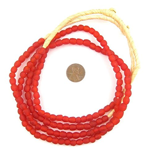 - African Recycled Glass Beads - Full Strand Eco-Friendly Fair Trade Sea Glass Beads from Ghana Handmade Ethnic Round Spherical Tribal Boho Krobo Spacer Beads - The Bead Chest (7mm, Red)