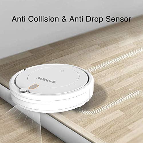 ANNEW Aspirateur Robot Machine Nettoyage avec télécommande 3 Modes de Nettoyage antichute Filtre HEPA idéal pour Les Poils d'animaux Tapis Sol Dur - Home Robots