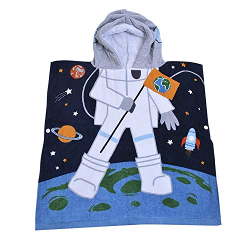 Hazure Hooded Towel for Kids, 100% Premium Cotton, Use for Children Bath Beach and Pool, Extra Large Size 24X48 inches, Ultra Breathable and Soft for All Seasons, Astronaut Space Theme -