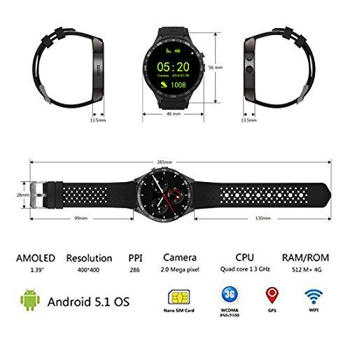 3G Smart Watch, Android 5.1 OS, Quad Core 2.0MP Camera Bluetooth Nano SIM Card Soket WiFi GPS Heart Rate Monitor (Black+Silver) by Kingwear (Image #1)