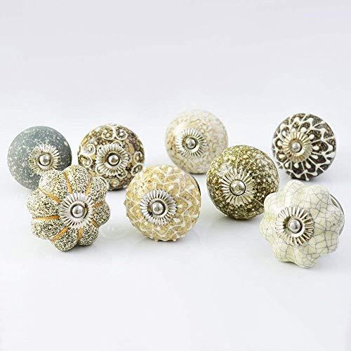 Set of 20 Assorted Hazel Handmade Ceramic Pumpkin and Round Knobs ulls for Cabinet / Girls Dresser/Kids Cupboard/Kitchen Drawer Handles with Hardware ()