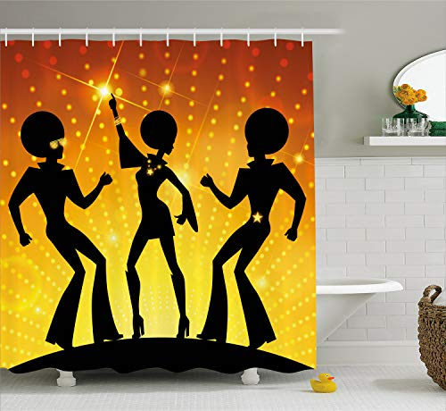 Ambesonne 70s Party Shower Curtain, Dancing People in Disco Night Club with Afro Hair Style Bokeh Backdrop, Fabric Bathroom Decor Set with Hooks, 70 Inches, Orange Yellow