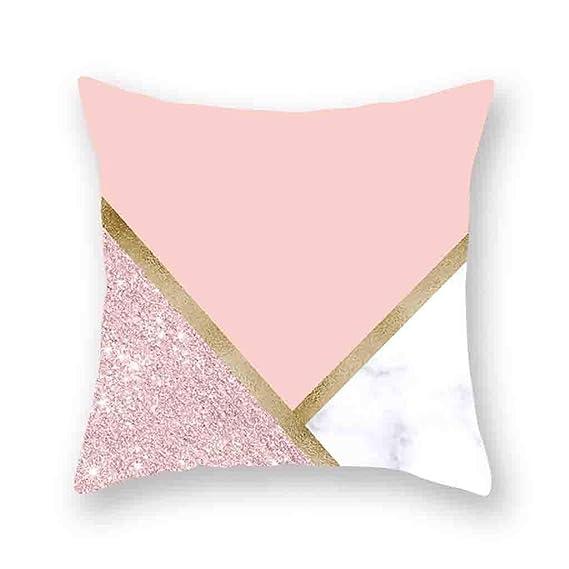 Xmansky Fundas De Almohada Cuadrada Blanco Rosa Moderna ...