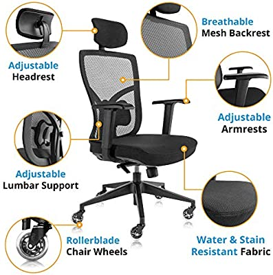 Amazon Com Ergonomic Mesh Office Chair With Roller Blade Wheels Ridiculously Comfortable High Back Computer Desk Chair And Fully Adjustable Black Kitchen Dining
