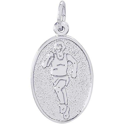 Rembrandt Charms Female Marathon Runner Charm, 14K White Gold (Gold 14k Runner Charm)