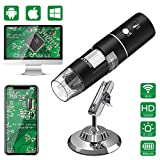 WiFi Microscope Camera(Upgraded Version),AISITIN Portable USB Digital Kids Microscope - 50x to 1000x 1080P HD Video Magnification with 8 LED Light for iOS/Android/Windows/Mac