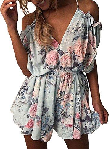 Women's Cute Summer Beach Cold Shouler Flower Print Short Jumpsuit Romper(M)