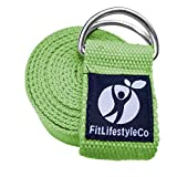 FitLifestyleCo Yoga Strap Best for Stretching - 6 Colors Instructional Video - Durable Cotton with Metal D-Ring (Light Blue)