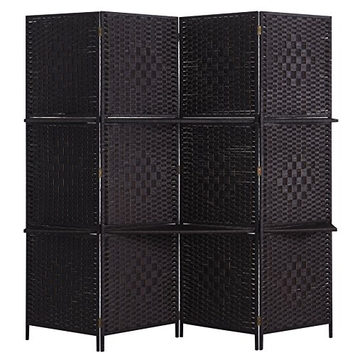 Rose Home Fashion RHF 6 ft Tall (Extra Wide) Beige Woven Room Divider&Room dividers and folding privacy screens,Partition Wall, With 2 Display Shelves - DarkCoffee - 4 Panels 2 (Woven Wall Fashion)