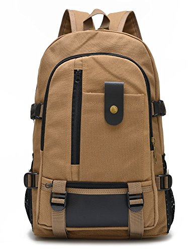 Unique Stylish High-capacity Zipper Canvas Casual Laptop Bag Shoulder Bag Travel Bag (Khaki) - 6