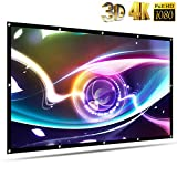 120 inch Projector Screen Outdoor Movie Projection Screen Portable Video Home Theater Thicken TV 4K HD Ready for Indoor Anti-Crease 16:9