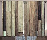 Ambesonne Wooden Curtains, Antique Planks Flooring Wall Picture American Style Western Rustic Panel Graphic Print, Living Room Bedroom Window Drapes 2 Panel Set, 108 W X 90 L Inches, Brown