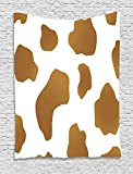asddcdfdd Cow Print Tapestry, Brown Spots on a White Cow Skin Abstract Art Cattle Fur Farm Animals Cowboy Barn, Wall Hanging for Bedroom Living Room Dorm, 60 W X 80 L Inches, White Brown