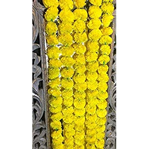 5 pack Artificial Yellow Marigold flower garlands/strings 5 ft long- for use in parties, celebrations, Indian weddings, Indian themed event, decorations, house warming, photo prop, Diwali, Ganesh Fest 15