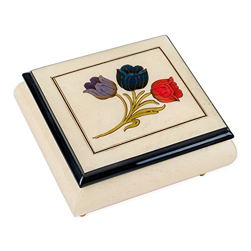 White Tulips Italian Hand Crafted Inlaid Elm Wood Musical Box Plays Tune Canon In D