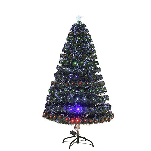 7' Artificial Holiday Fiber Optic / LED Light Up Christmas Tree w/ 8 Light Settings and Stand by HOMCOM (Image #1)