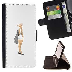 "Bright-Giant (Mini Tinta Vestido Sexy Legs Pintura Arte Botín"") Modelo Colorido Cuero Carpeta Tirón Caso Cubierta Piel Holster Funda Protección Para Apple (5.5 inches!!!) iPhone 6+ Plus / 6S+ Plus"