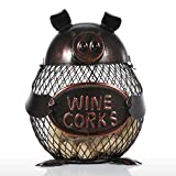 Tooarts Piggy Wine Barrel Cork Cage Container Metal Sculpture Handicraft Gift Home Decor