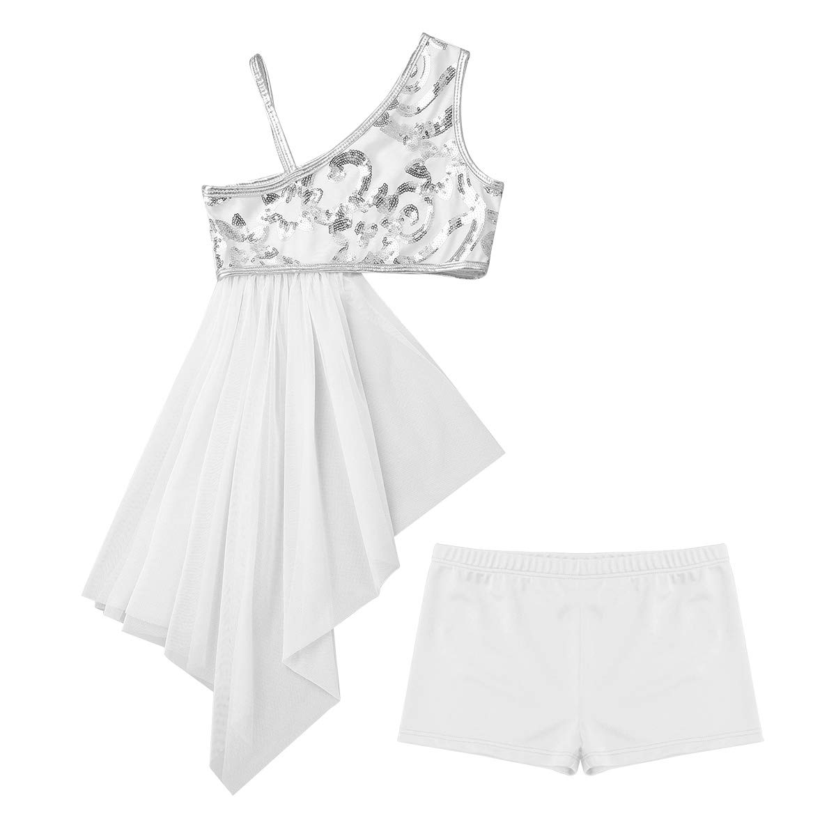 inhzoy Kids Girls 2 PCS Dance Outfits One Shoulder Floral Sequins Top Side Waist Open Drap Skirt with Bottoms White 6 by inhzoy