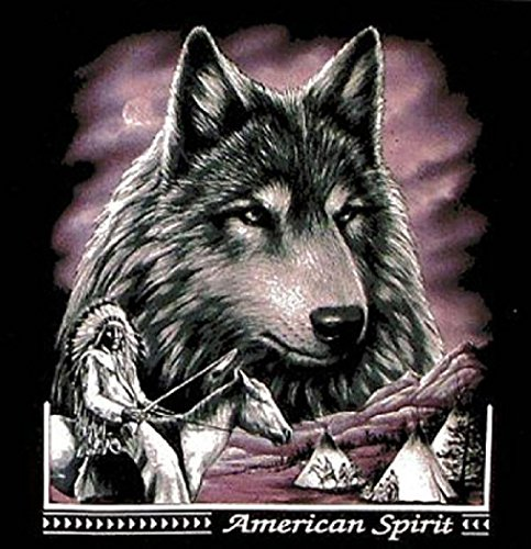 [Wolf Head Indian On Horse Black Tee Shirt Size M Adult T121 American Spirt New] (Indian Wolf Headdress Costume)