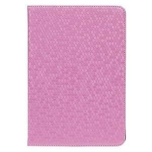 Conseguir Panal textura estilo protección pu estuche de cuero de cuerpo completo con soporte para el ipad mini-rosa