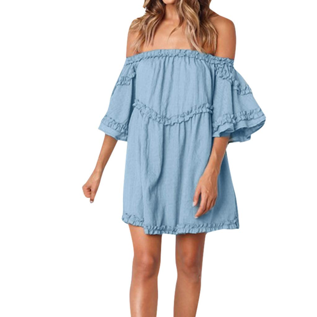 LONGDAY Women Summer Dress Off Shoulder Ruffles Mini Dress Strapless Top Cocktail Party Dress Flared Sleeves Swing Hem Blue by LONGDAY-Women Dresses