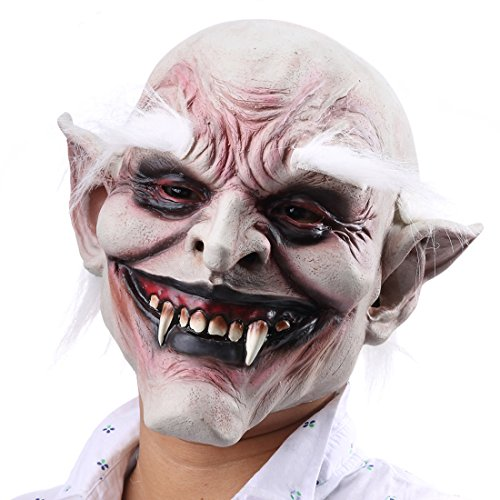 Hophen Latex Old Devil Monster Mask Ideal For Parties Creepy Halloween Cosplay Costume Party Huanted Props]()