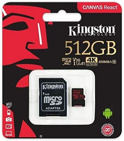SanFlash Kingston 512GB React MicroSDXC for Motorola Moto G Power with SD Adapter 100MBs Works with Kingston