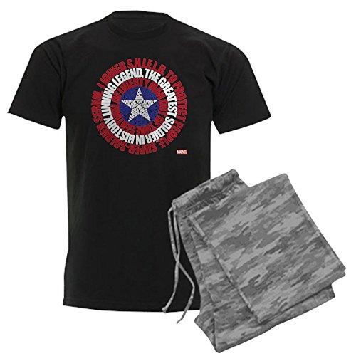 (CafePress Captain America Word Shield - Unisex Novelty Cotton Pajama Set, Comfortable PJ Sleepwear)