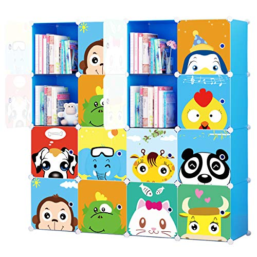 - KOUSI Toy Organizer Toy Storage Portable Toy Organizers for Kids Children Toy Organizers and Storage Multifuncation Cube Storage Shelf Cabinet Bookcase Bookshelf, Capacious & Study, Blue, 16 Cubes