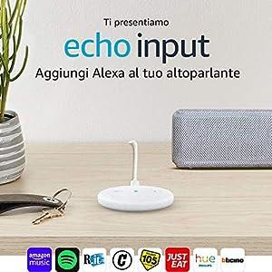 Echo Input, Bianco – Aggiungi Alexa al tuo altoparlante – È richiesto un altoparlante esterno con ingresso audio da 3,5 mm o Bluetooth