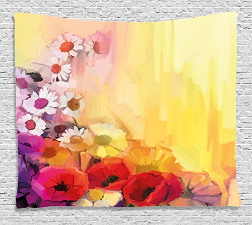 Ambesonne Watercolor Flower Home Decor Tapestry by, Daisy Peony Lily Poppy Gerbera Chamomile Petals Spring Drawn Image, Wall Hanging for Bedroom Living Room Dorm, 80WX60L Inches, Multi