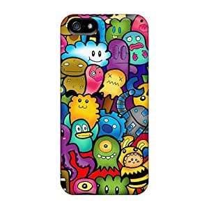 Iphone 5/5s Case Cover - Slim Fit Tpu Protector Shock Absorbent Case (cute Monsters)