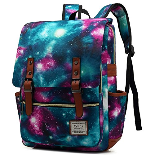Kenox Vintage Laptop Backpack College Backpack School Bag Fits 15-inch Laptop (Sky-green)