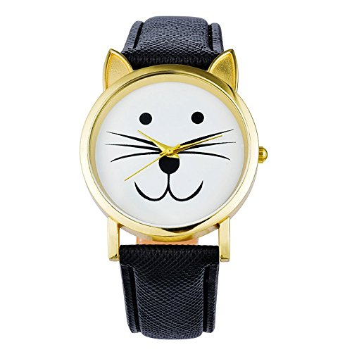 Souarts Black Strap Cat Face Dial Artificial Leather Quartz Round - With Cats Round Faces