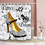 PocaBlife Dreamy Diamond Dance Shoes Waterproof Fabric Bath Shower Curtain & Metal Hooks 60x72 inches