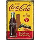 Nostalgic Art 10276, Targa metallica, motivo: Coca-Cola - Bottles, 10 x 14 cm, giallo