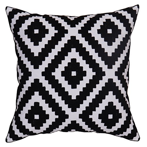 (Bridgeso Square Throw Pillow Case Geometric Diamond Pattern Minimalist Embroidered 1 Pack of Cushion Cover for Couch, 1-Pack, 18